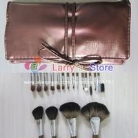 Professional High Quality Cosmetic Make up Brushes Kit Pony Goat Hair Makeup Brush Set With Brown Case 18 Pcs/Lot Wholesale
