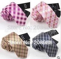 Hot Sale! Fashion Skinny Tie  Plaid Gingham Tie Polyester Menss Tie + Free Shipping 10pcs/lot #1329B