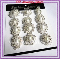 Mixed Designs 12PCS/LOT Silver Plated Pearl Bouquet Brooch Free Shipping Hot Sale
