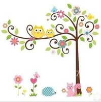 Free shipping 10sets/lot 50*70CM ZooYoo Oiginal Design/RoomMates Scroll Cute Owl Tree Peel & Stick Wall Sticker 002001 (80))