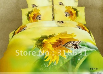 4or 5pcs Reactive Printing Sunflower Butterfly Printed Oil Painting Yellow Bedding Duvet Cover Set Comforter Sets Queen Full Sz