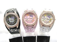 No.752 Golden edge/Children KT watches/kids hello kitty leather strap kids Quartz watches/KT cartoon watches/Student KT watches