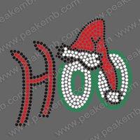 Free Shipping 30pcs/Lot New Christmas Design Santa Hat HOO  Iron On Letters Rhinestone Transfers  for Dress Tshirt