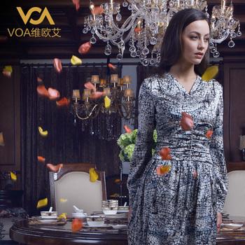 Voa silk heavy silk long-sleeve dress a021
