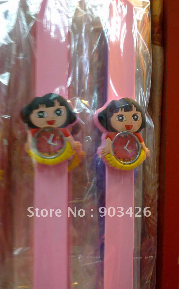 Free shipping by DHL! 100pcs/lot ! Fashion Dora Slap Chidren Watch Cartoon Wristwatch Slicone Snap Watch G1969 Wholesale(China (Mainland))