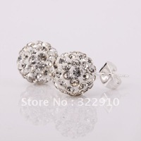 Wholesale 10MM Ball Sparkling Crystal Shamballa Earrings Micro Pave CZ Disco Ball Bead,Nice Silver Tone free shipping SBE025