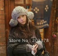 Free shipping New Women Solid Color Ear Protection Autumn and winter hat With Balls Woman Warm Cap Fashion Girl's Accessories