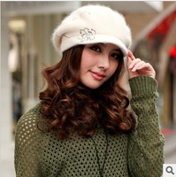 Free Shipping 2012 New Women Winter Fashion Wool Knitted Cap Rabbit Fur Floral Visors Hats