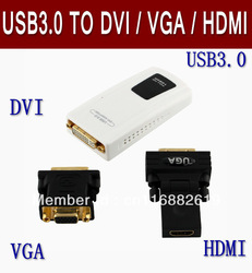 USB 3.0 to VGA HD 1080P USB3.0 to DVI/HDMI Graphics Card , Retail packaging+Freeshipping(China (Mainland))