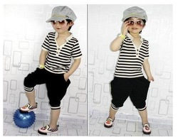 5Sets/lot Free shipping whole suit 2012 baby boys striped clothing set 2pcs suit(T-shirt+pant) summer clothing set boy wear(China (Mainland))