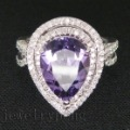 Pear cut Solid 14Kt White Gold 6.76Ct Natural Diamond Amethyst Wedding Ring
