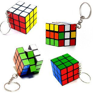 Wholesale Free Shipping 10 Pieces/Lot Mini Puzzle Magic Game Magic Square Keychain Key Ring