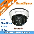 SunEyes H.264 IR Dome IP Camera with IR Cut and  P2P Plug and Play SP-H04P