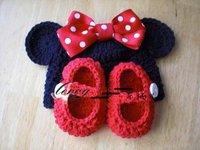 free shipping, Crochet Infant Newborn Stripes Beanie Toddler Crochet girl  Minnie hat cartoon caps handmade