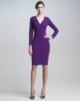 2012 New arrival Fashion Winter OL  women&amp;#39;s Vintage dress V stand slim dress