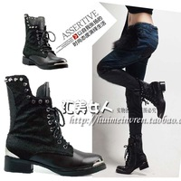 free shipping/2013 Europe cool skeleton rock rivets shoelace thick heels  motorcycle women boots,lady shoes ankle boots
