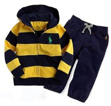 Free Shipping High quality Baby POLO Yellow and black striped shirt Casual pants suit children Top