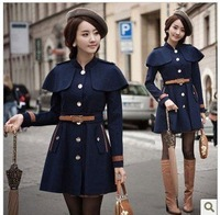 New Korean style in 2012 for autumun and winter  woolen cloth coat  Girls grow a cloak cloth coat    large size