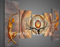hand-painted wall art Orange trees dancing home decoration abstract Landscape oil painting on canvas 5pcs