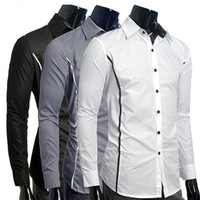 2012 style New  Item for Mens Shirts Casual Slim Fit Stylish Design  Shirts Size:M-L-XL-XXXL C21