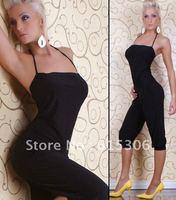 Free shipping! Black sexy ladies club wear,halter sexy wear set N087