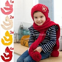 Free Shipping K Standard Long Solid Color Personality Conjoined Cap Scarf Winter Sets Hat,Hats for kids Boys and girls hat