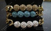 Crystal Shamballa Ball Link Gold Chunky Chain Bracelet Set BS025