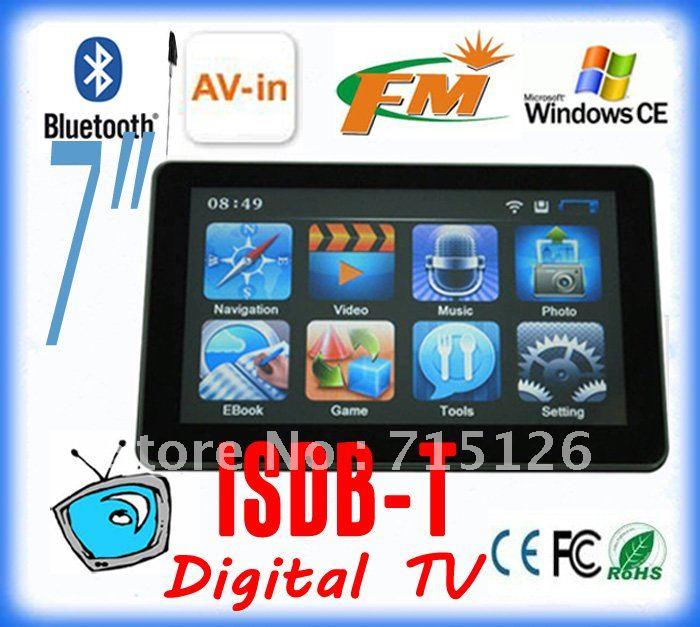 TV ISDB-T brazil 7 inch GPS, bluetooth GPS, Bluetooth,AV-IN, DDR 128 M, 4GB , latest map,GPS navigation system(China (Mainland))
