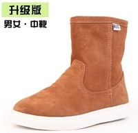 Buz short-leg boots cowhide knee-high snow boots waterproof genuine leather winter women's shoes parent-child shoes