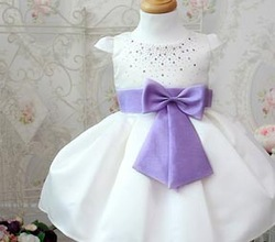 free shipping purple bow princess dress crystal princess dress purple girl&#39;s dress kid&#39;s derss(China (Mainland))