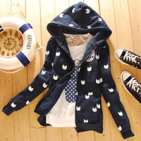 Free Shipping Cardigan thickening sweatshirt hooded outerwear young girl school wear  autumn and winter outerwear