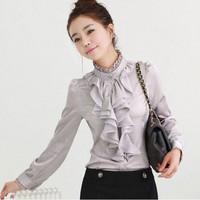 Spring ruffle lace stand collar sweet gorgeous romantic elegant long-sleeve shirt 0247