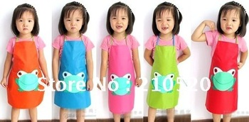 Free Shipping10PCS/Lot Loverly Frog Children Kitchen PVC Apron Waterproof  Durable Apron Home Health Clean Wholesale