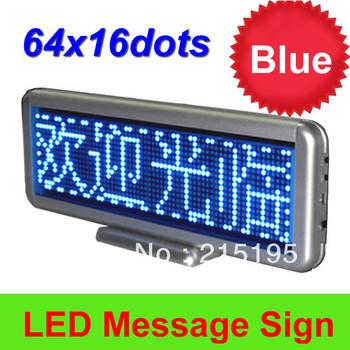 16 x 64pixel P4mm single blue color LED dot matrix signs indoor LED moving message display or restaurant