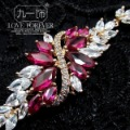 Fashion luxury quality pink corundum zircon bracelet wristiest jewelry female
