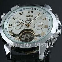 Jargar Gent White Tourbillon Date Elegant Aviator Automatic Self-Wind Mechanical Men Wrist Watch Wholesale Price Nice Gift A509