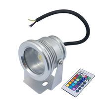 IP65 Waterproof AC 85-265V LED RGB Flood Light IR Remote Controller Flat Lens 10W Silver Shell