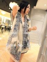 8581 fashion vintage decorative pattern national trend thin cotton hemp print long design scarf cape