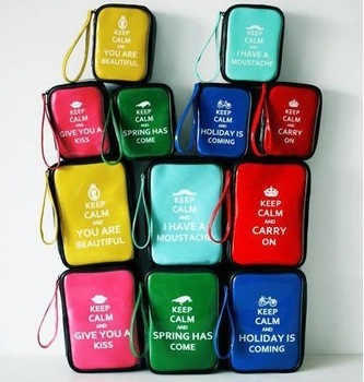 Zakka keep calm summer fresh japanned leather cosmetic bag storage bag free air mail