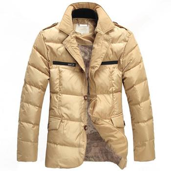 Men Fashion Casual Down Jacket Stand Collar Winter Warm Coat Gentlemen Thickening Outwear Outdoor Free Shipping MC1259