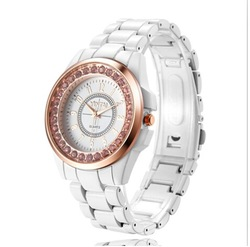 New Fashion Round Dial Decoration Wrist Watch with Rhinestone for woman ROSRA -white(China (Mainland))