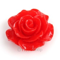 Wholesale - 120 Red  Resin Rose Shaped Charms Flat Back Beads Cabochons 18mm Fit Jewelry DIY 111576