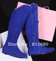 2013 New arrival blue suede leather women boots European designer fashion ladies boots H532