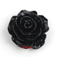 Wholesale - 120pcs Black  Resin Rose Shaped Charms Flat Back Beads Cabochons 18mm Fit Jewelry DIY 111578