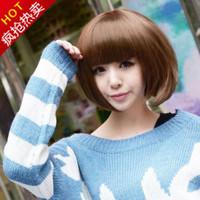 Girls short hair wig bobo non-mainstream scroll fluffy qi bangs repair