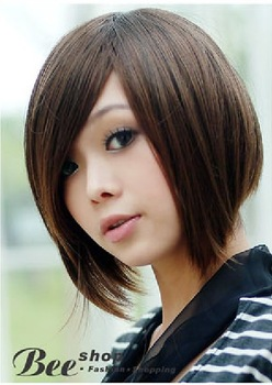 Free Shipping 2012 New Hot Short Straight Wigs Bob Head Bangs Non-mainstream Lady's Hair Wig