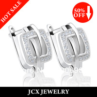 Free Shipping 925 Silver CZ Jewelry Square Earrings for Women
