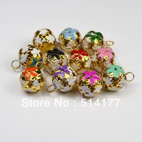 Free shipping- 14mm mixed color Small bell ,cloisonne  Fit Festival & Christmas Decoration Jewelry Pendants (200pcs/lot)
