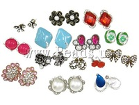 Enamel Zinc Alloy Stud Earrings, with resin or rhinestone or ABS plastic pearl, nickel, lead & cadmium free, Sold by Lot