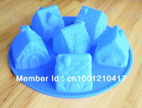 Free Shipping 3D 6-Houses Flexible Silicone Mold/Mould For Handmade Soap Candle Candy Jewelry Jelly Cake Fimo Resin Crafts